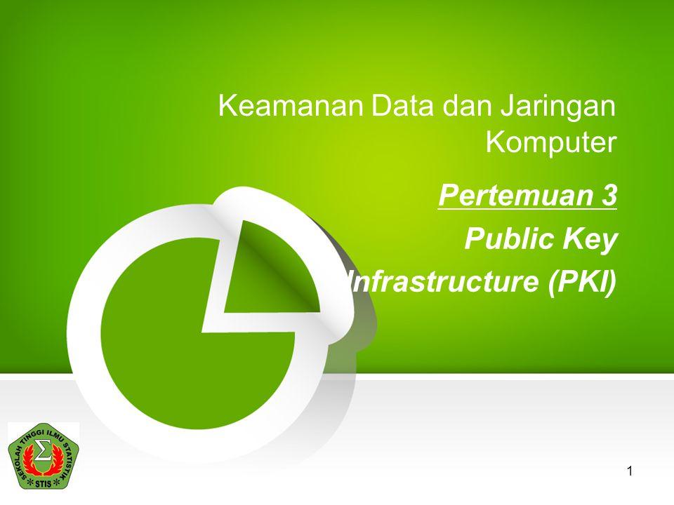 1 Keamanan Data dan Jaringan Komputer Pertemuan 3 Public Key Infrastructure (PKI)
