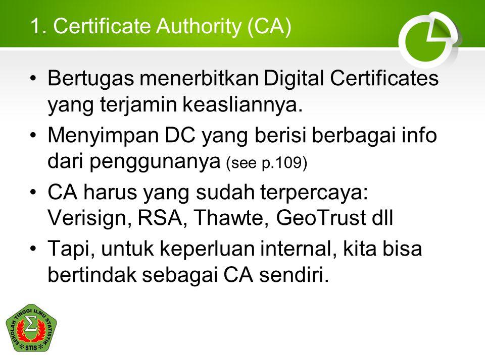 1. Certificate Authority (CA) Bertugas menerbitkan Digital Certificates yang terjamin keasliannya. Menyimpan DC yang berisi berbagai info dari penggun