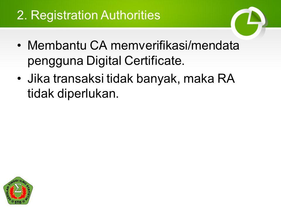 2. Registration Authorities Membantu CA memverifikasi/mendata pengguna Digital Certificate. Jika transaksi tidak banyak, maka RA tidak diperlukan.