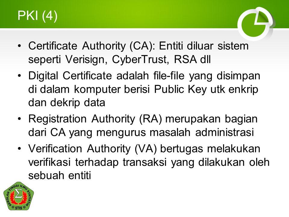 PKI (4) Certificate Authority (CA): Entiti diluar sistem seperti Verisign, CyberTrust, RSA dll Digital Certificate adalah file-file yang disimpan di d
