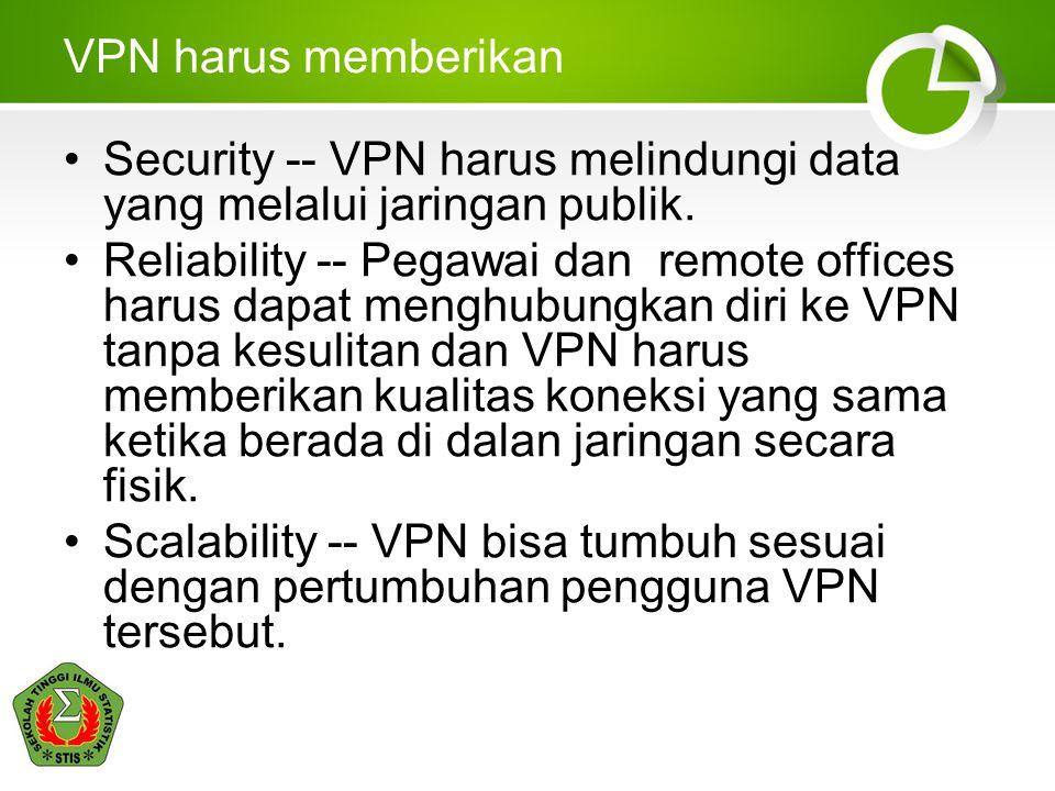 VPN harus memberikan Security -- VPN harus melindungi data yang melalui jaringan publik. Reliability -- Pegawai dan remote offices harus dapat menghub