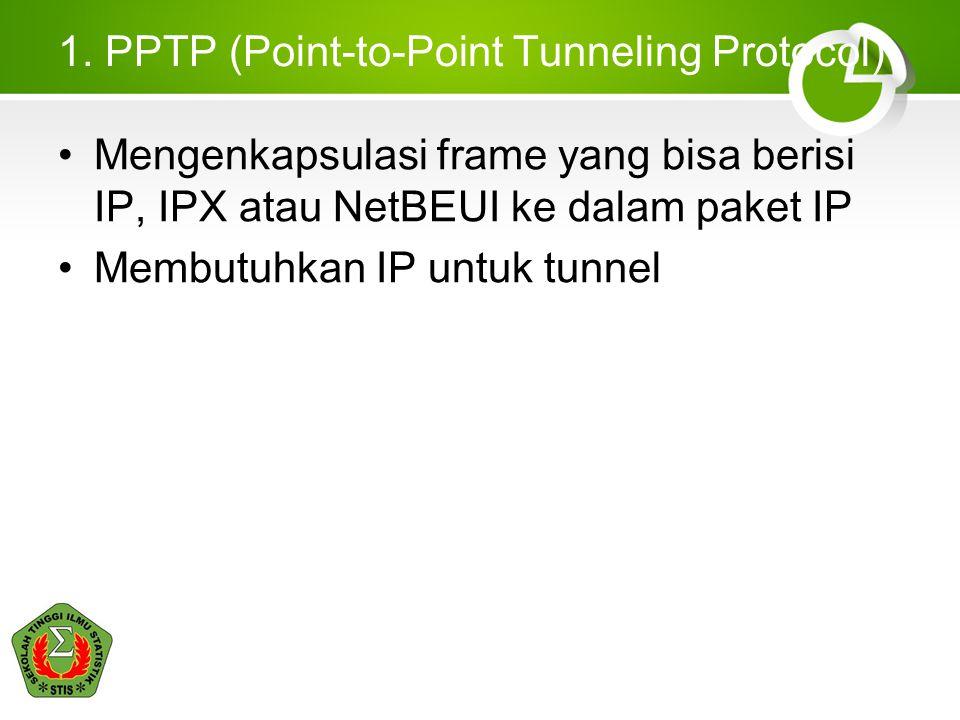 1. PPTP (Point-to-Point Tunneling Protocol) Mengenkapsulasi frame yang bisa berisi IP, IPX atau NetBEUI ke dalam paket IP Membutuhkan IP untuk tunnel