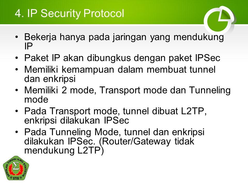 4. IP Security Protocol Bekerja hanya pada jaringan yang mendukung IP Paket IP akan dibungkus dengan paket IPSec Memiliki kemampuan dalam membuat tunn