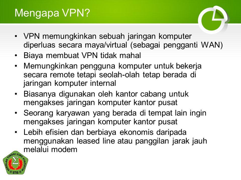 Mengapa VPN? VPN memungkinkan sebuah jaringan komputer diperluas secara maya/virtual (sebagai pengganti WAN) Biaya membuat VPN tidak mahal Memungkinka