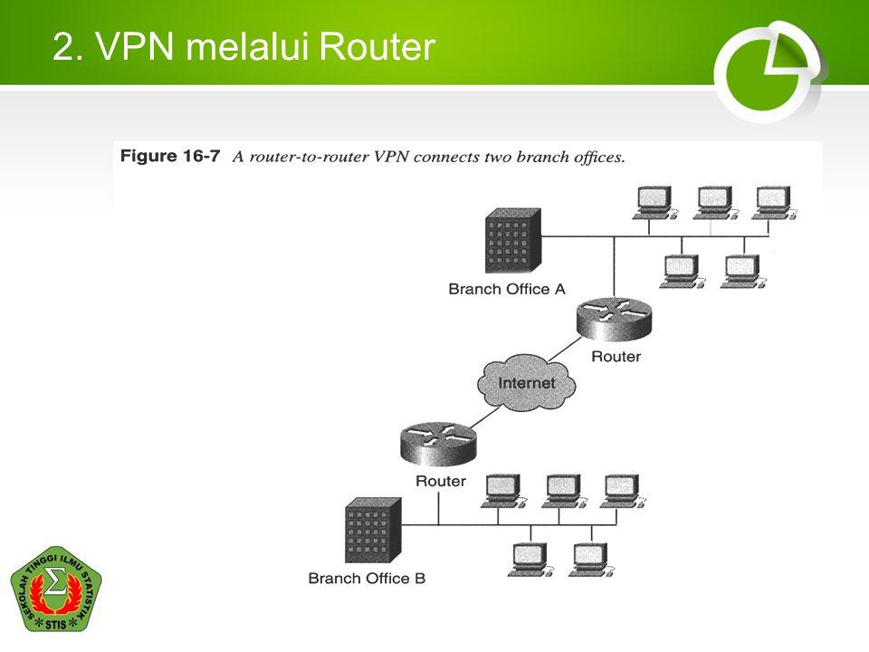 Cara Kerja VPN Sebuah 'terowongan'(tunnel) diciptakan pada jaringan publik Dipakai untuk pengiriman paket data Seolah-olah ada hubungan point-to-point Karena melalui jaringan umum, maka perlunya keamanan data Enkripsi sangat dibutuhkan dalam proses pengirimanan data Performa internet, seperti kecepatan transfer data, mudahnya koneksi ke internet, kestabilan koneksi, dll Sedikit lebih lambat bila dibandingkan dengan tanpa VPN, karena adanya proses tunneling dan enkripsi/dekripsi