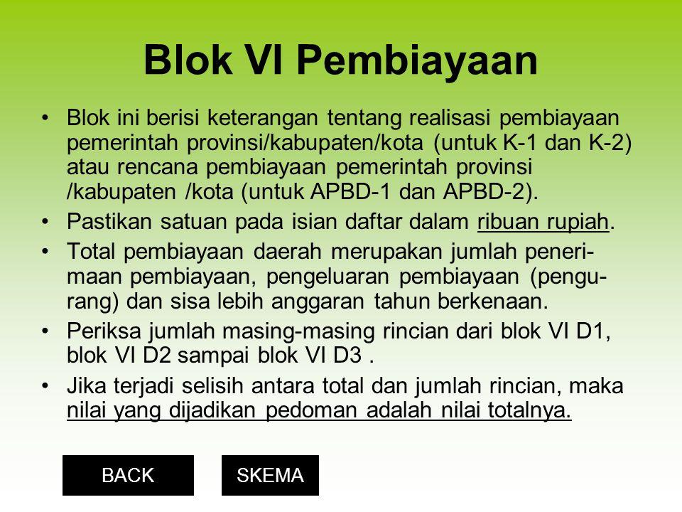 Blok VI Pembiayaan Blok ini berisi keterangan tentang realisasi pembiayaan pemerintah provinsi/kabupaten/kota (untuk K-1 dan K-2) atau rencana pembiayaan pemerintah provinsi /kabupaten /kota (untuk APBD-1 dan APBD-2).