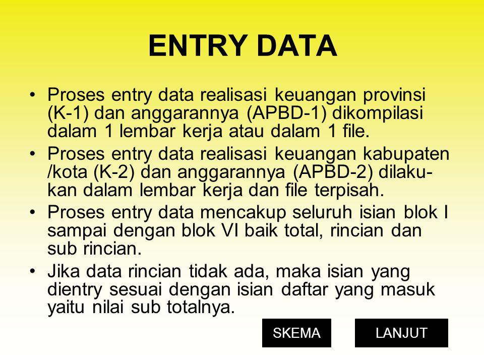 ENTRY DATA Proses entry data realisasi keuangan provinsi (K-1) dan anggarannya (APBD-1) dikompilasi dalam 1 lembar kerja atau dalam 1 file. Proses ent
