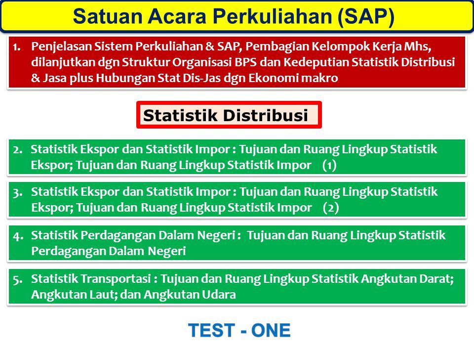 1.Penjelasan Sistem Perkuliahan & SAP, Pembagian Kelompok Kerja Mhs, dilanjutkan dgn Struktur Organisasi BPS dan Kedeputian Statistik Distribusi & Jas