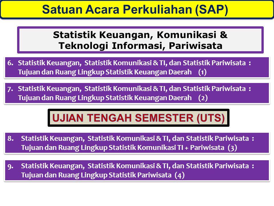 Satuan Acara Perkuliahan (SAP)) Statistik Keuangan, Komunikasi & Teknologi Informasi, Pariwisata 6.Statistik Keuangan, Statistik Komunikasi & TI, dan