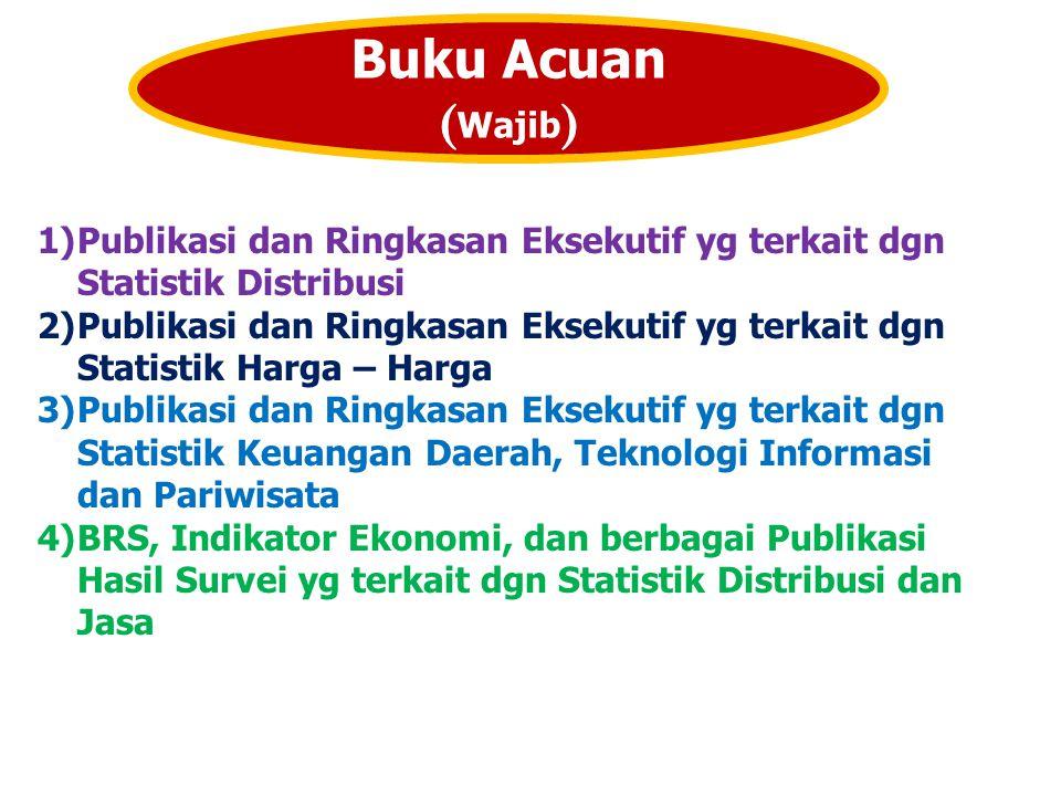 Buku Acuan ( Wajib ) 1)Publikasi dan Ringkasan Eksekutif yg terkait dgn Statistik Distribusi 2)Publikasi dan Ringkasan Eksekutif yg terkait dgn Statis