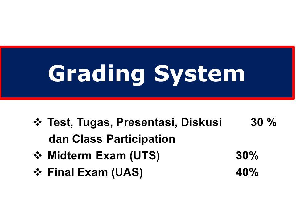 Grading System  Test, Tugas, Presentasi, Diskusi 30 % dan Class Participation  Midterm Exam (UTS) 30%  Final Exam (UAS) 40%