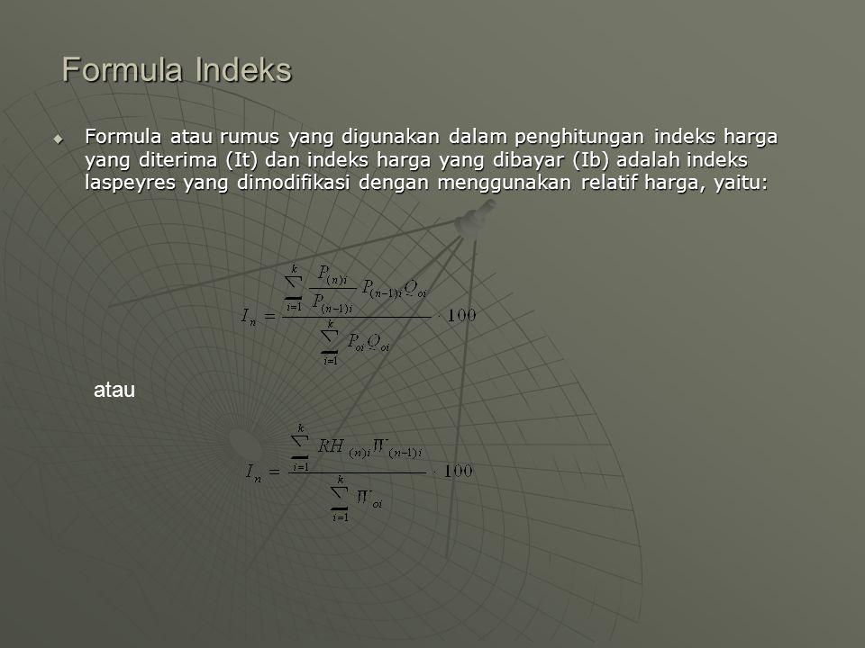 Formula Indeks Formula Indeks  Formula atau rumus yang digunakan dalam penghitungan indeks harga yang diterima (It) dan indeks harga yang dibayar (Ib) adalah indeks laspeyres yang dimodifikasi dengan menggunakan relatif harga, yaitu: atau