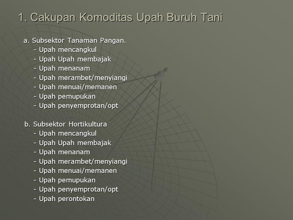 1.Cakupan Komoditas Upah Buruh Tani a. Subsektor Tanaman Pangan.
