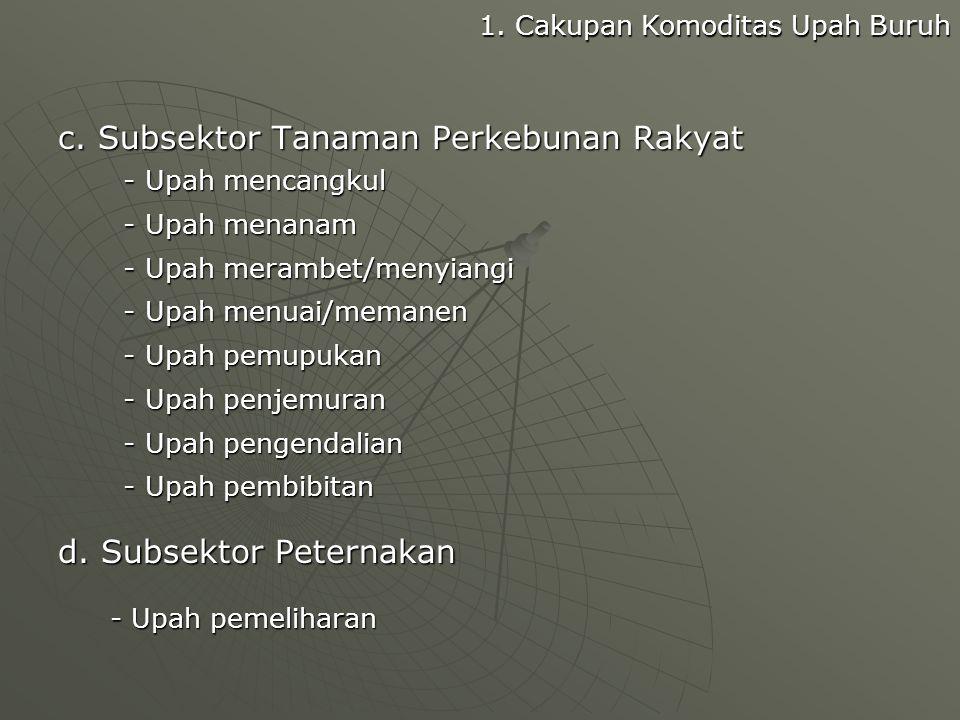 c. Subsektor Tanaman Perkebunan Rakyat - Upah mencangkul - Upah mencangkul - Upah menanam - Upah menanam - Upah merambet/menyiangi - Upah merambet/men