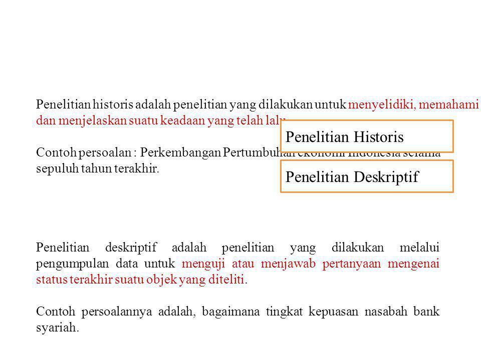 Penelitian historis adalah penelitian yang dilakukan untuk menyelidiki, memahami dan menjelaskan suatu keadaan yang telah lalu. Contoh persoalan : Per