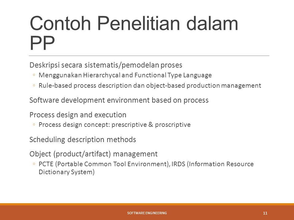 Contoh Penelitian dalam PP Deskripsi secara sistematis/pemodelan proses ◦Menggunakan Hierarchycal and Functional Type Language ◦Rule-based process des