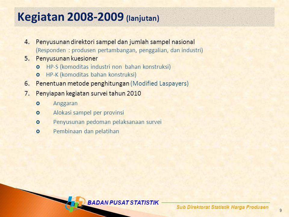 BADAN PUSAT STATISTIK Sub Direktorat Statistik Harga Produsen 4.Penyusunan direktori sampel dan jumlah sampel nasional (Responden : produsen pertambangan, penggalian, dan industri) 5.Penyusunan kuesioner  HP-S (komoditas industri non bahan konstruksi)  HP-K (komoditas bahan konstruksi) 6.Penentuan metode penghitungan (Modified Laspayers) 7.Penyiapan kegiatan survei tahun 2010  Anggaran  Alokasi sampel per provinsi  Penyusunan pedoman pelaksanaan survei  Pembinaan dan pelatihan Kegiatan 2008-2009 (lanjutan) 9
