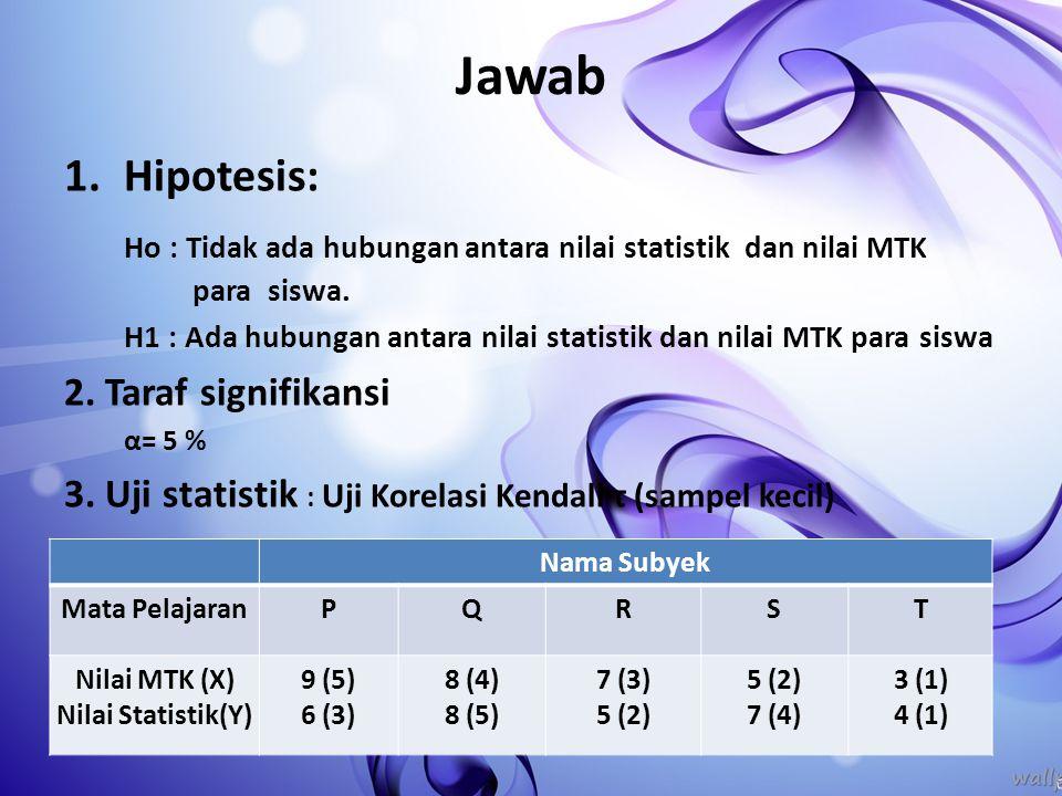 Jawab 1.Hipotesis: Ho : Tidak ada hubungan antara nilai statistik dan nilai MTK para siswa. H1 : Ada hubungan antara nilai statistik dan nilai MTK par