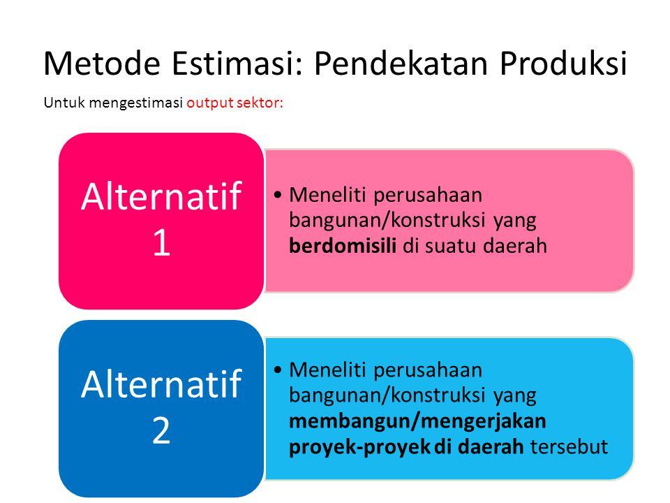 Metode Estimasi: Pendekatan Produksi Meneliti perusahaan bangunan/konstruksi yang berdomisili di suatu daerah Alternatif 1 Meneliti perusahaan banguna