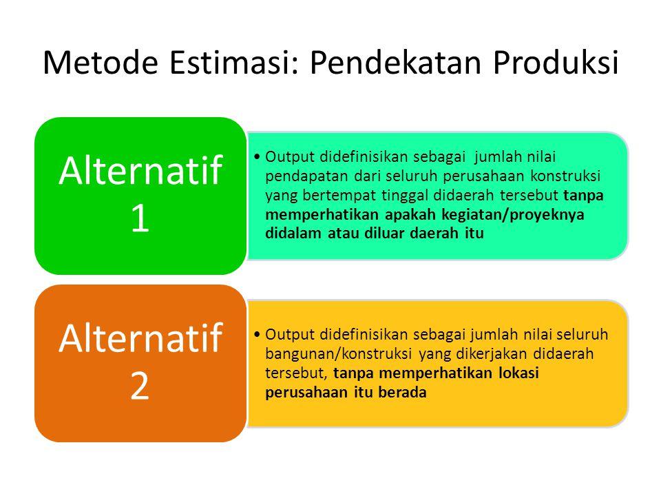 Metode Estimasi: Pendekatan Produksi Output didefinisikan sebagai jumlah nilai pendapatan dari seluruh perusahaan konstruksi yang bertempat tinggal di