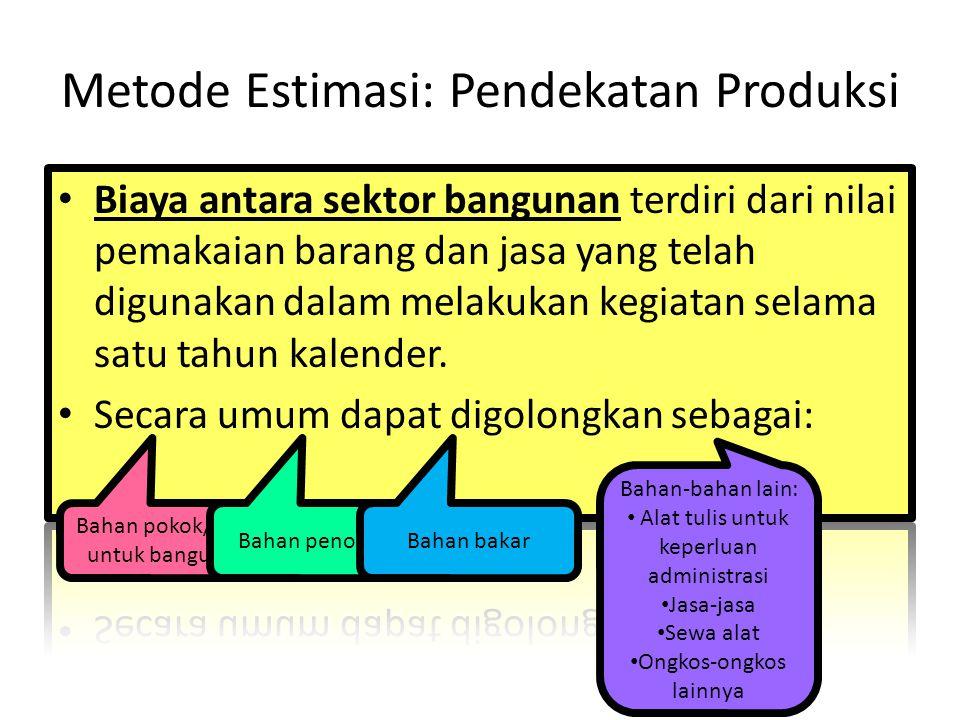 Metode Estimasi: Pendekatan Produksi Bahan pokok/baku untuk bangunan Bahan penolongBahan bakar Bahan-bahan lain: Alat tulis untuk keperluan administra
