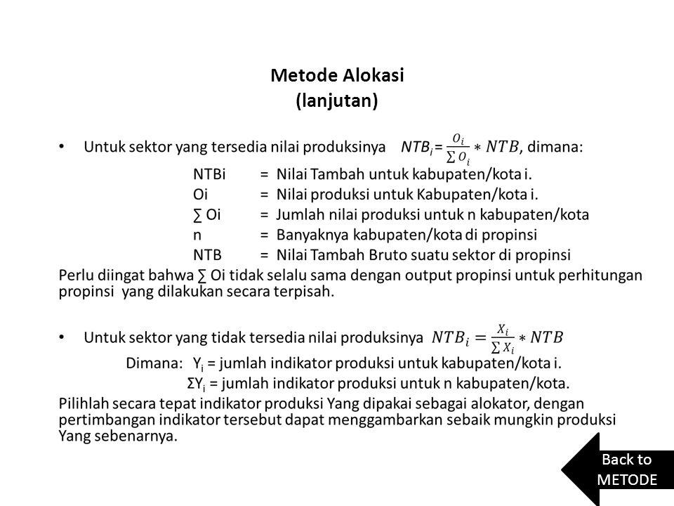 Metode Alokasi (lanjutan) Back to METODE