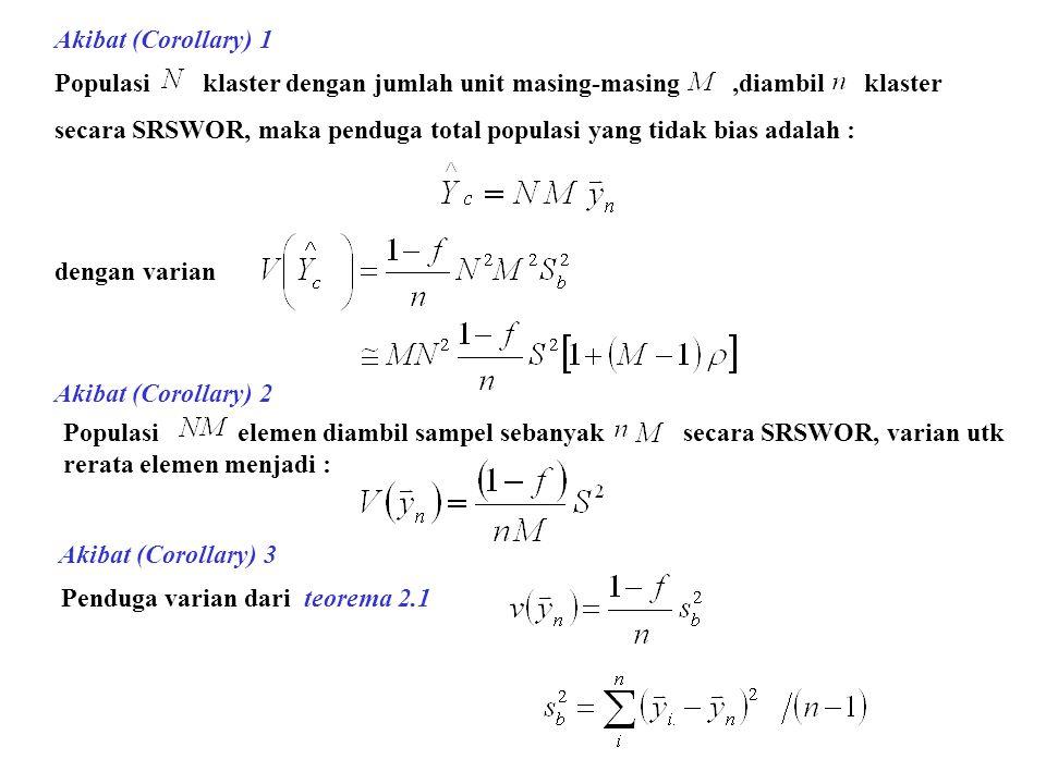 Akibat (Corollary) 1 Populasi klaster dengan jumlah unit masing-masing,diambil klaster secara SRSWOR, maka penduga total populasi yang tidak bias adalah : dengan varian Akibat (Corollary) 2 Akibat (Corollary) 3 Populasi elemen diambil sampel sebanyak secara SRSWOR, varian utk rerata elemen menjadi : Penduga varian dari teorema 2.1