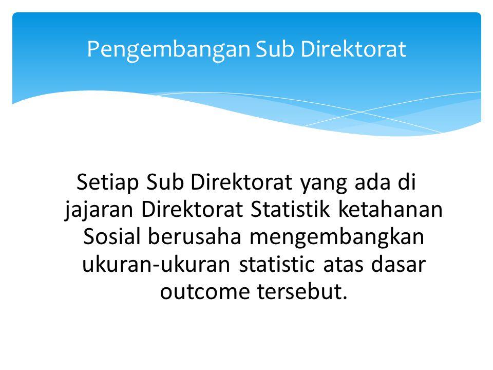 Setiap Sub Direktorat yang ada di jajaran Direktorat Statistik ketahanan Sosial berusaha mengembangkan ukuran-ukuran statistic atas dasar outcome ters