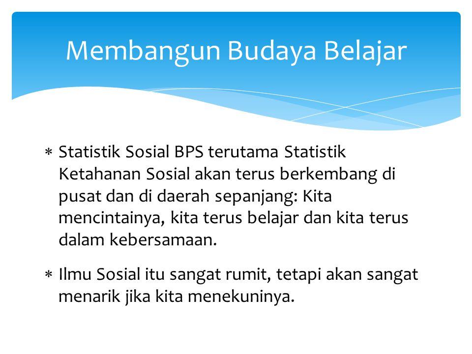  Statistik Sosial BPS terutama Statistik Ketahanan Sosial akan terus berkembang di pusat dan di daerah sepanjang: Kita mencintainya, kita terus belaj