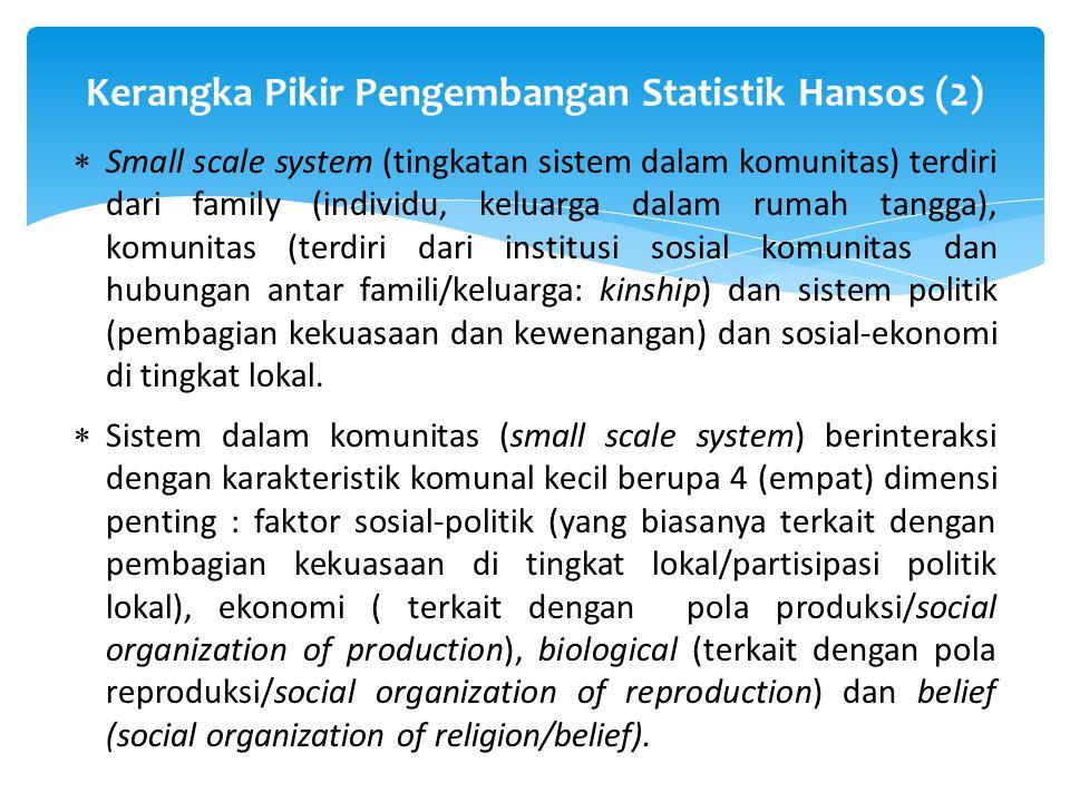  Small scale system (tingkatan sistem dalam komunitas) terdiri dari family (individu, keluarga dalam rumah tangga), komunitas (terdiri dari institusi