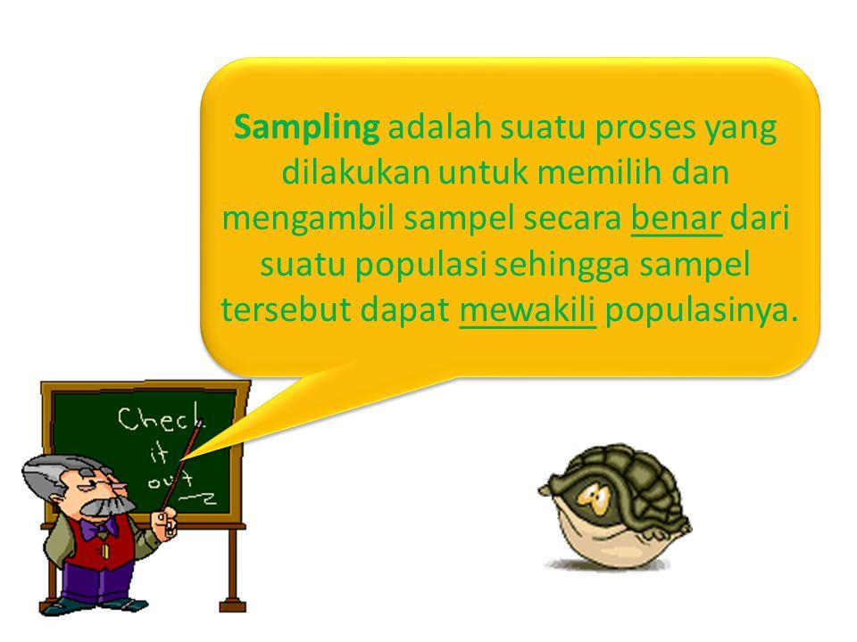 Sampling adalah suatu proses yang dilakukan untuk memilih dan mengambil sampel secara benar dari suatu populasi sehingga sampel tersebut dapat mewakili populasinya.