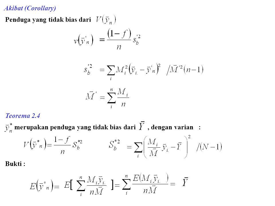Akibat (Corollary) Penduga yang tidak bias dari Teorema 2.4 merupakan penduga yang tidak bias dari, dengan varian : Bukti :