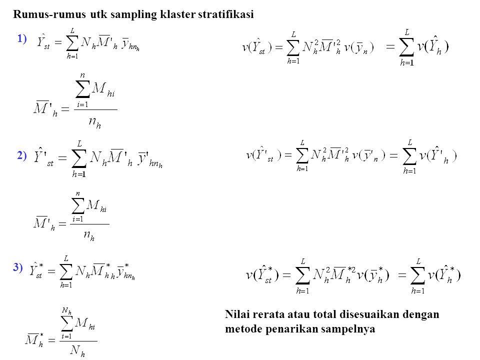 1) 2) 3) Rumus-rumus utk sampling klaster stratifikasi Nilai rerata atau total disesuaikan dengan metode penarikan sampelnya