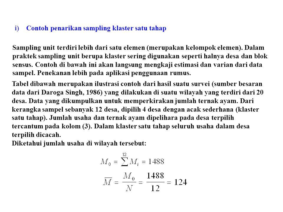 Sampling unit terdiri lebih dari satu elemen (merupakan kelompok elemen). Dalam praktek sampling unit berupa klaster sering digunakan seperti halnya d