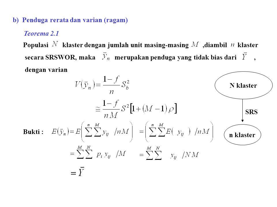 b) Penduga rerata dan varian (ragam) Populasi klaster dengan jumlah unit masing-masing,diambil klaster secara SRSWOR, maka merupakan penduga yang tida