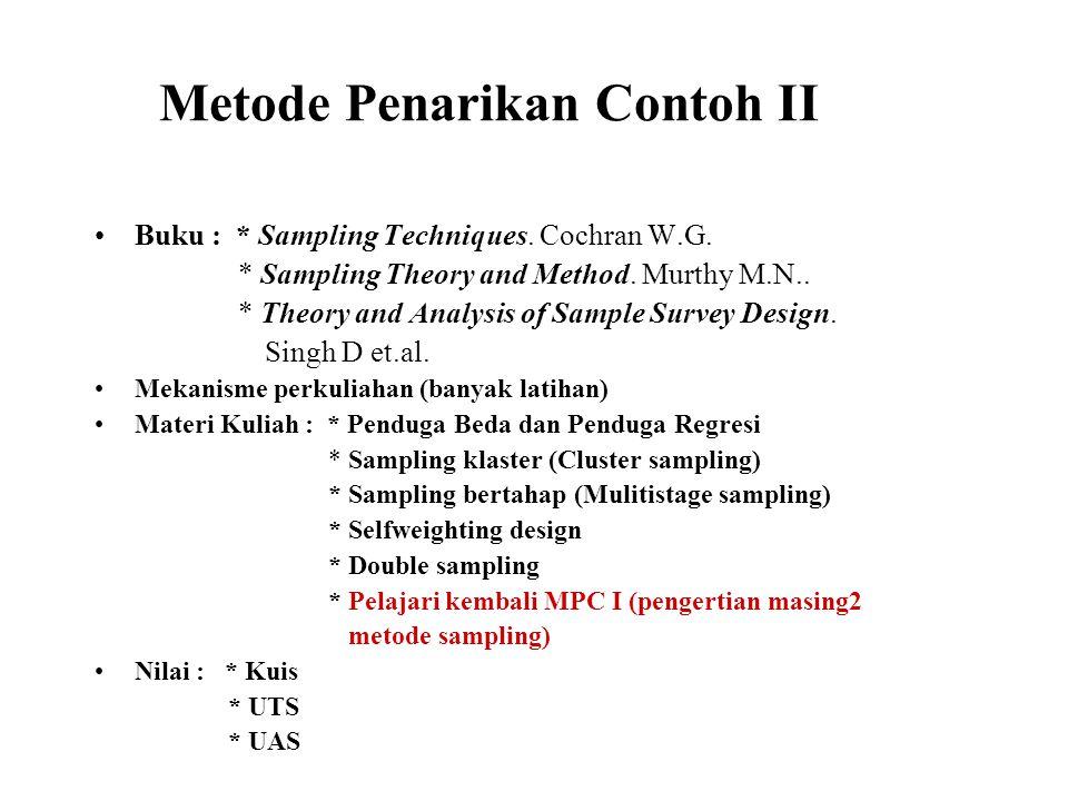 Metode Penarikan Contoh II Buku : * Sampling Techniques. Cochran W.G. * Sampling Theory and Method. Murthy M.N.. * Theory and Analysis of Sample Surve