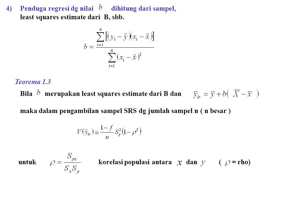 4)Penduga regresi dg nilai dihitung dari sampel, least squares estimate dari B, sbb. Bila merupakan least squares estimate dari B dan maka dalam penga