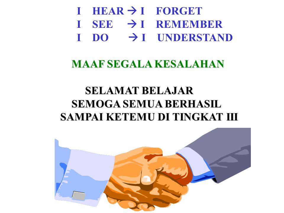 I HEAR  I FORGET I SEE  I REMEMBER I DO  I UNDERSTAND MAAF SEGALA KESALAHAN MAAF SEGALA KESALAHAN SELAMAT BELAJAR SELAMAT BELAJAR SEMOGA SEMUA BERH