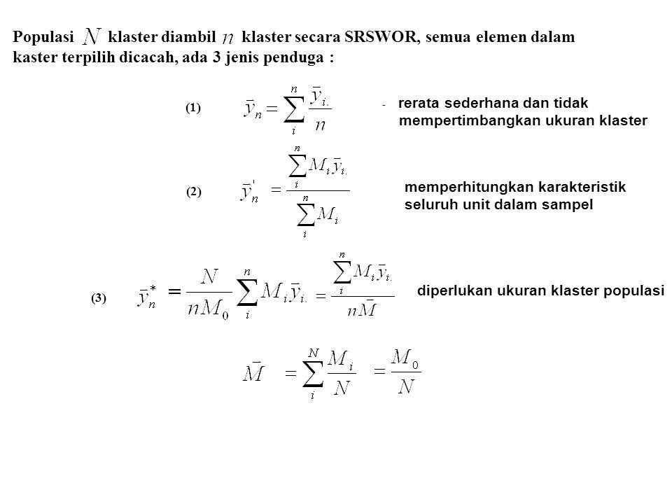 Populasi klaster diambil klaster secara SRSWOR, semua elemen dalam kaster terpilih dicacah, ada 3 jenis penduga : - rerata sederhana dan tidak mempert