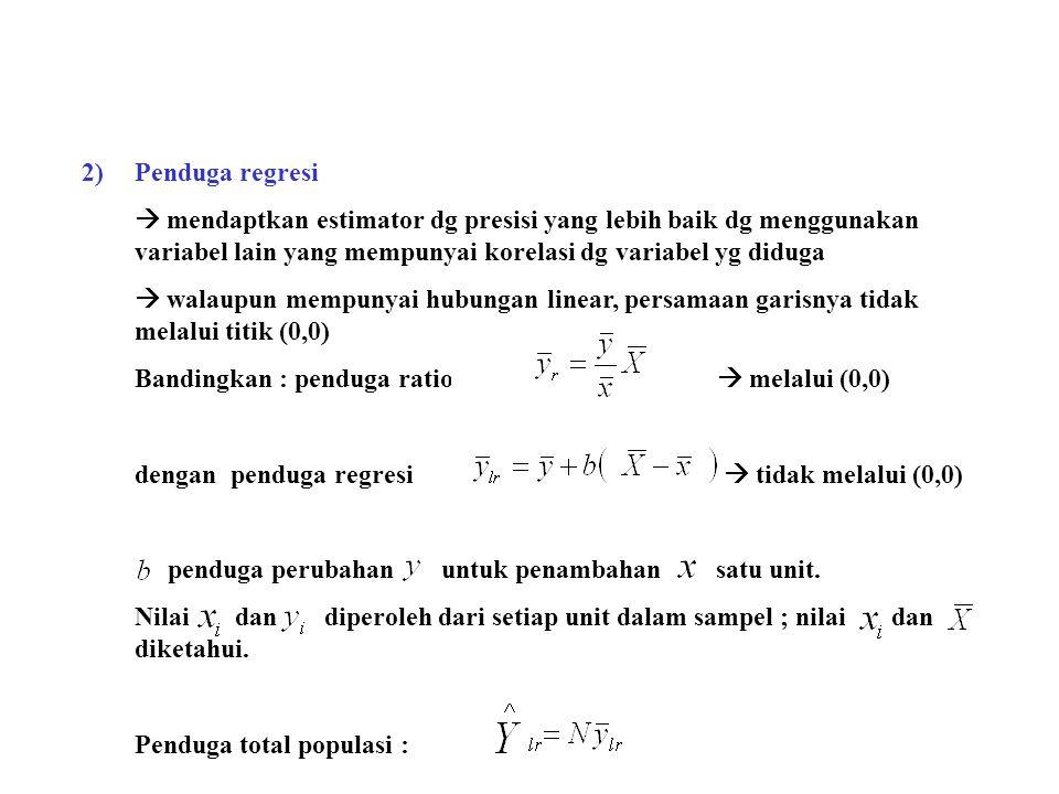 2)Penduga regresi  mendaptkan estimator dg presisi yang lebih baik dg menggunakan variabel lain yang mempunyai korelasi dg variabel yg diduga  walau