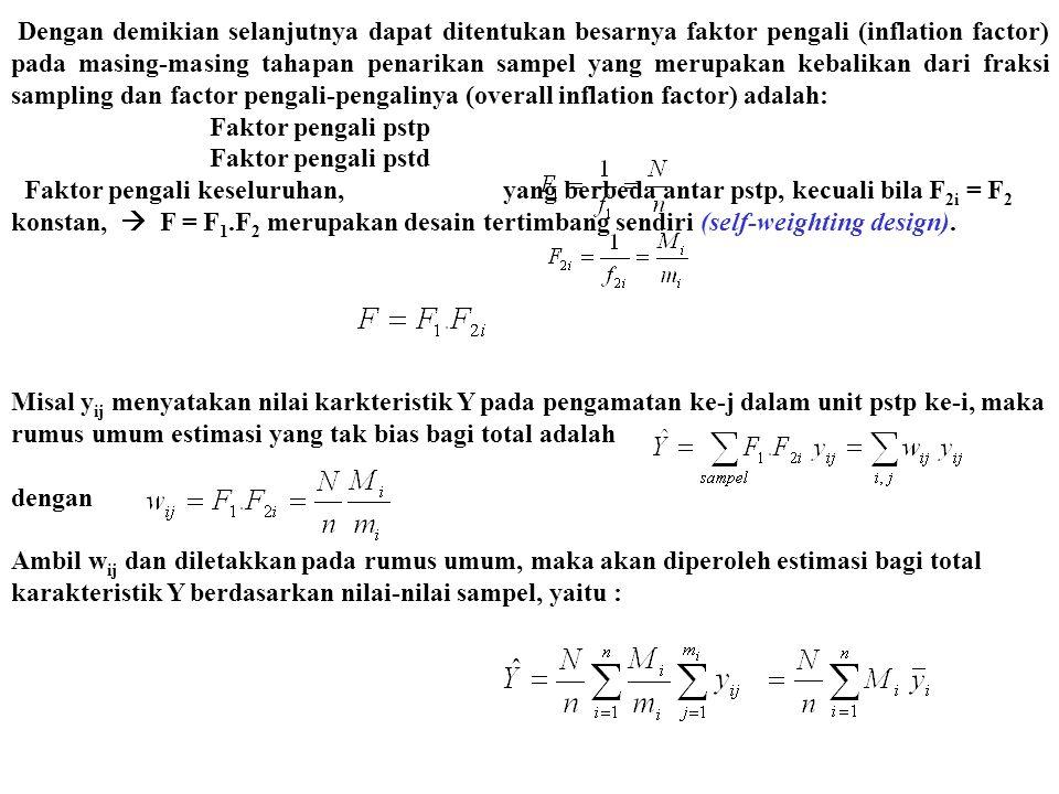 Dengan demikian selanjutnya dapat ditentukan besarnya faktor pengali (inflation factor) pada masing-masing tahapan penarikan sampel yang merupakan keb