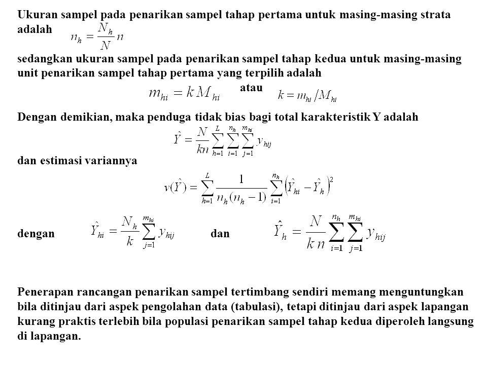 Ukuran sampel pada penarikan sampel tahap pertama untuk masing-masing strata adalah sedangkan ukuran sampel pada penarikan sampel tahap kedua untuk ma