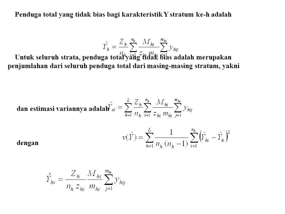 Penduga total yang tidak bias bagi karakteristik Y stratum ke-h adalah Untuk seluruh strata, penduga total yang tidak bias adalah merupakan penjumlaha