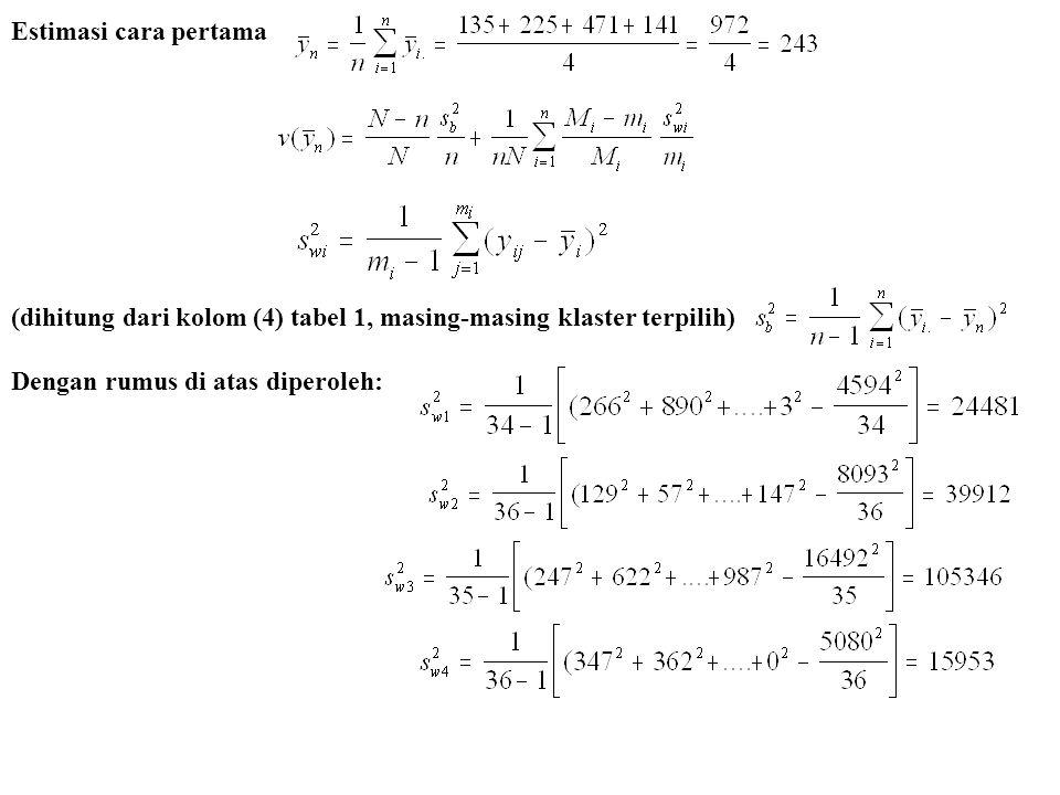 Estimasi cara pertama (dihitung dari kolom (4) tabel 1, masing-masing klaster terpilih) Dengan rumus di atas diperoleh: