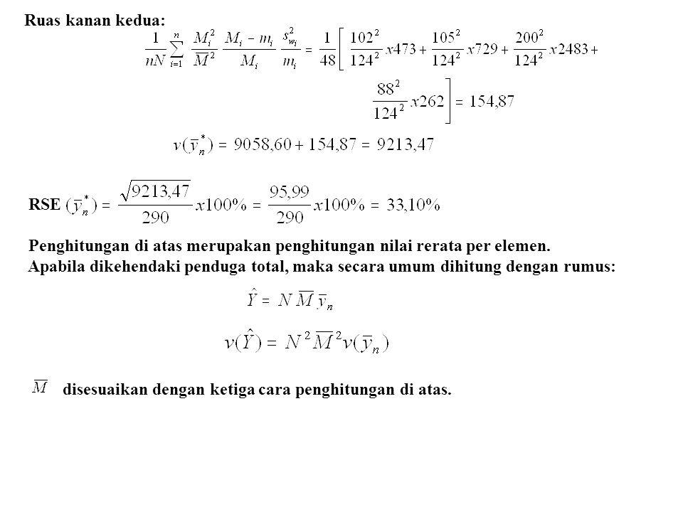 Ruas kanan kedua: RSE Penghitungan di atas merupakan penghitungan nilai rerata per elemen. Apabila dikehendaki penduga total, maka secara umum dihitun