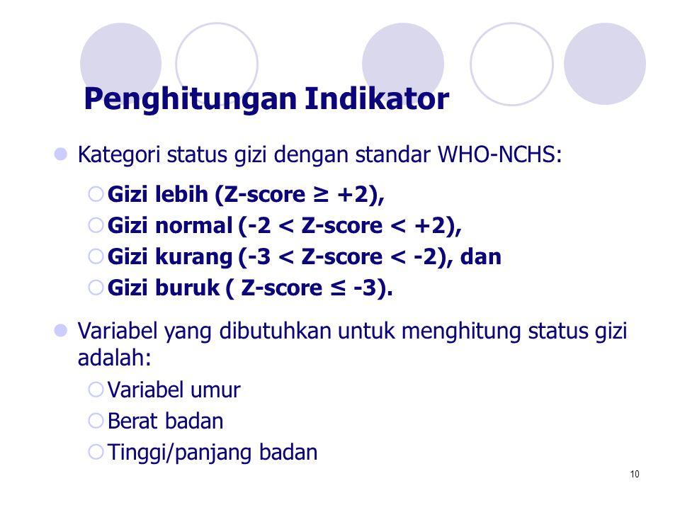 10 Kategori status gizi dengan standar WHO-NCHS:  Gizi lebih (Z-score ≥ +2),  Gizi normal (-2 < Z-score < +2),  Gizi kurang (-3 < Z-score < -2), da