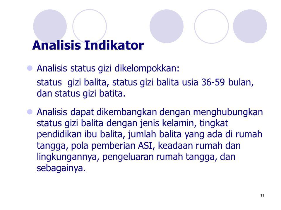 11 Analisis status gizi dikelompokkan: status gizi balita, status gizi balita usia 36-59 bulan, dan status gizi batita. Analisis dapat dikembangkan de