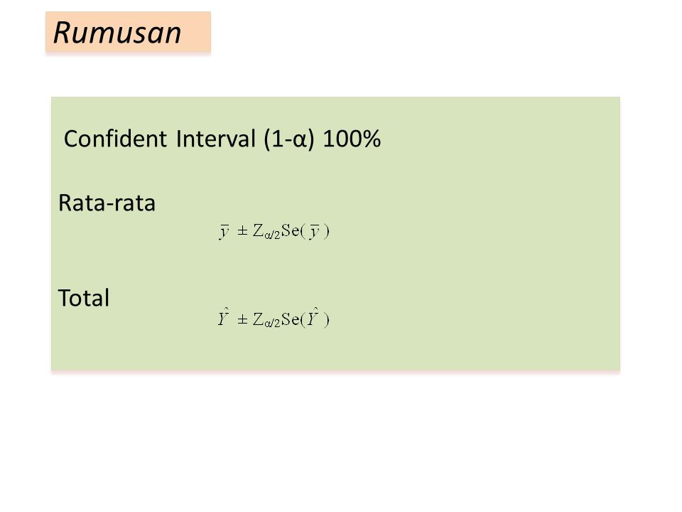 Confident Interval (1-α) 100% Rata-rata Total Rumusan