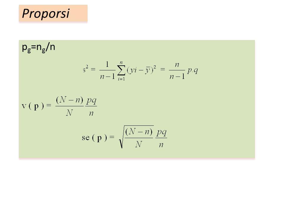 p g =n g /n Proporsi