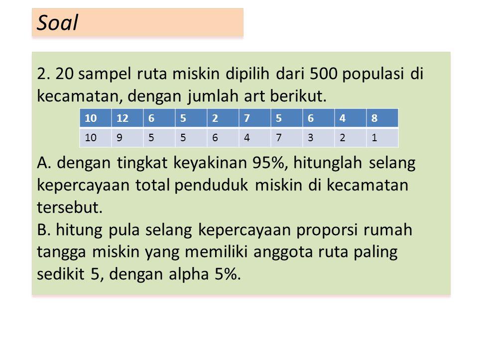 2. 20 sampel ruta miskin dipilih dari 500 populasi di kecamatan, dengan jumlah art berikut. A. dengan tingkat keyakinan 95%, hitunglah selang kepercay